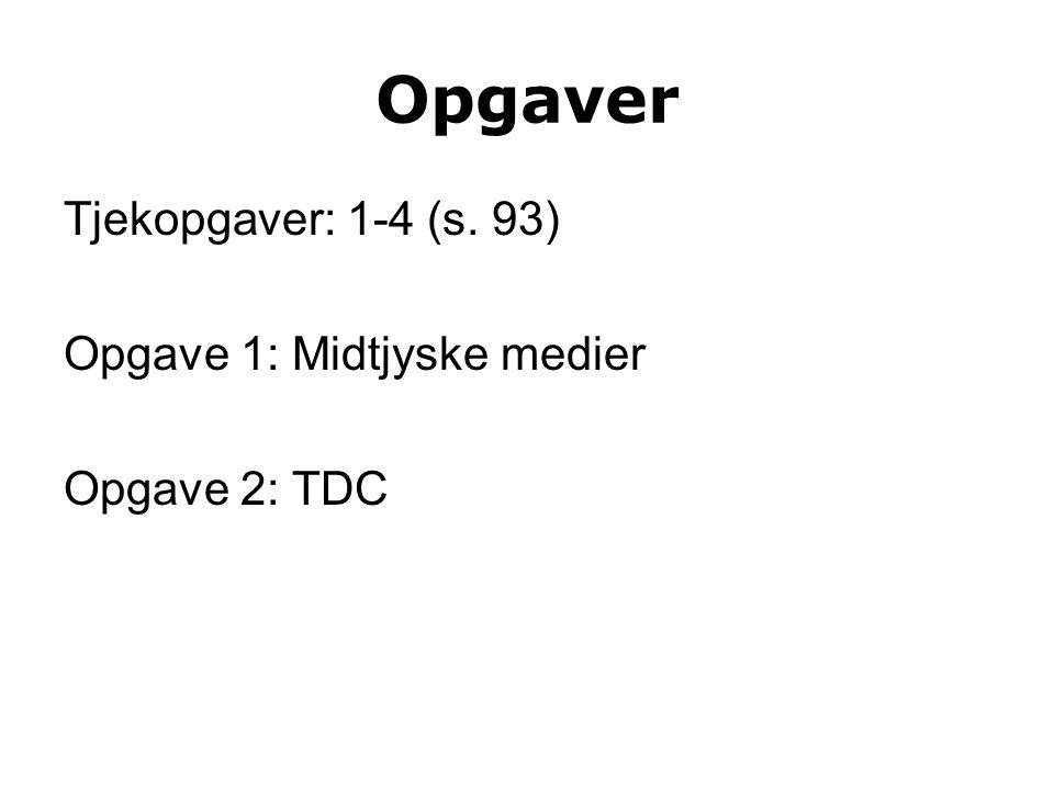 Opgaver Tjekopgaver: 1-4 (s. 93) Opgave 1: Midtjyske medier Opgave 2: TDC