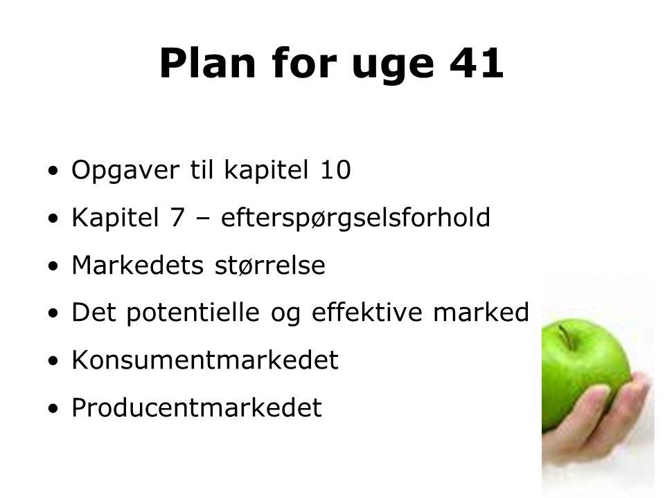 Plan for uge 41 Opgaver til kapitel 10 Kapitel 7 – efterspørgselsforhold Markedets størrelse Det potentielle og effektive marked Konsumentmarkedet Producentmarkedet