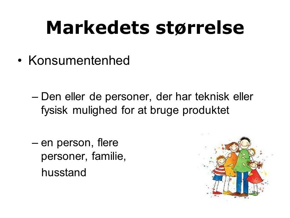 Markedets størrelse Konsumentenhed –Den eller de personer, der har teknisk eller fysisk mulighed for at bruge produktet –en person, flere flere personer, familie, husstand
