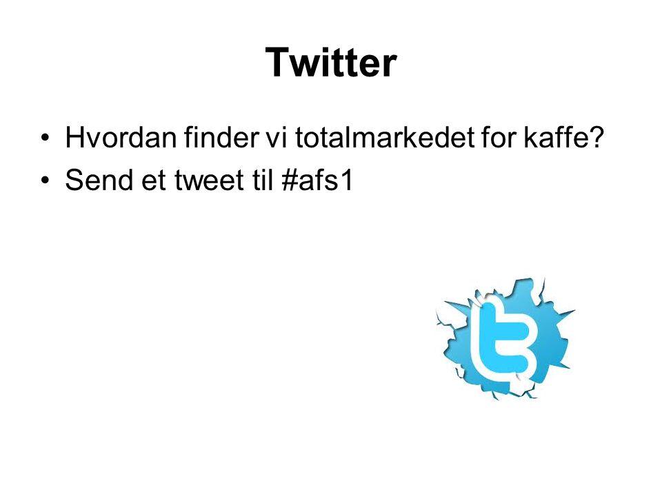 Twitter Hvordan finder vi totalmarkedet for kaffe? Send et tweet til #afs1
