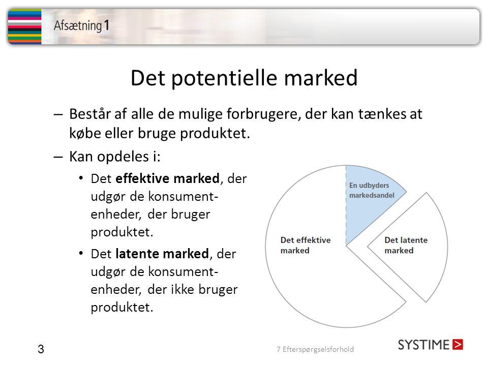Det potentielle marked 3 – Kan opdeles i: Det effektive marked, der udgør de konsument- enheder, der bruger produktet. Det latente marked, der udgør d