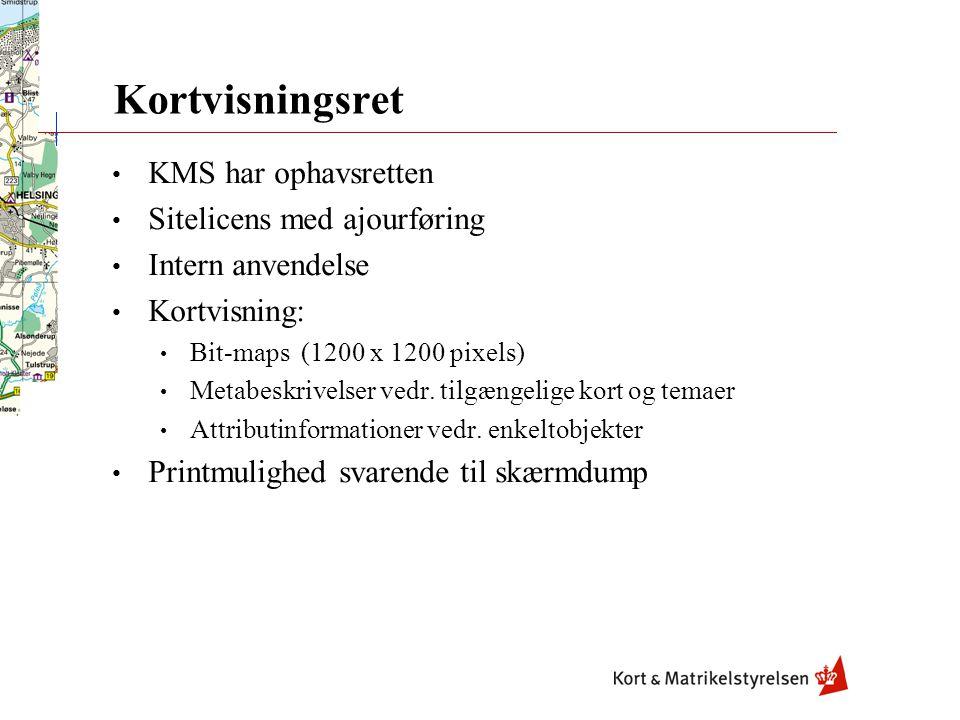 Kortvisningsret KMS har ophavsretten Sitelicens med ajourføring Intern anvendelse Kortvisning: Bit-maps (1200 x 1200 pixels) Metabeskrivelser vedr.