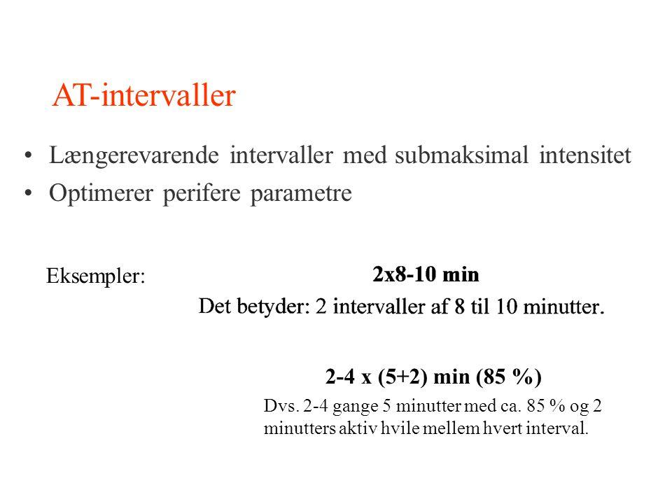 AT-intervaller Længerevarende intervaller med submaksimal intensitet Optimerer perifere parametre Eksempler: 2-4 x (5+2) min (85 %) Dvs. 2-4 gange 5 m