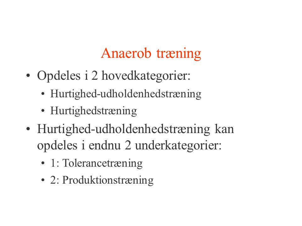 Anaerob træning Opdeles i 2 hovedkategorier: Hurtighed-udholdenhedstræning Hurtighedstræning Hurtighed-udholdenhedstræning kan opdeles i endnu 2 under