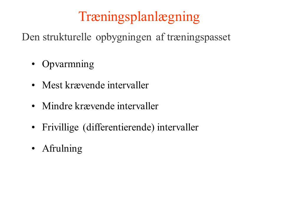 Træningsplanlægning Den strukturelle opbygningen af træningspasset Opvarmning Mest krævende intervaller Mindre krævende intervaller Frivillige (differ