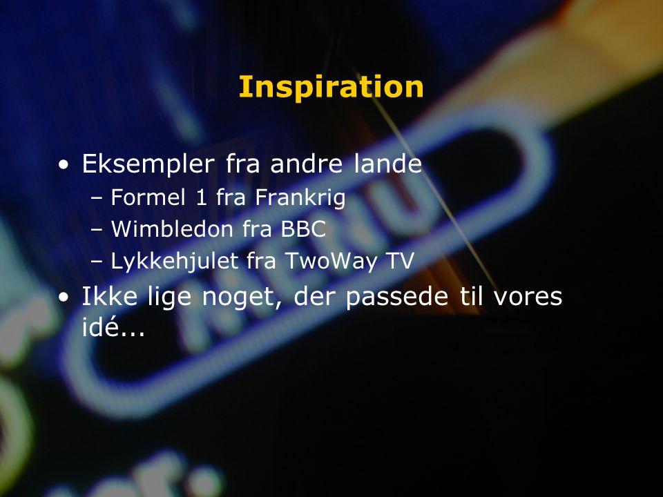 Inspiration Eksempler fra andre lande –Formel 1 fra Frankrig –Wimbledon fra BBC –Lykkehjulet fra TwoWay TV Ikke lige noget, der passede til vores idé...