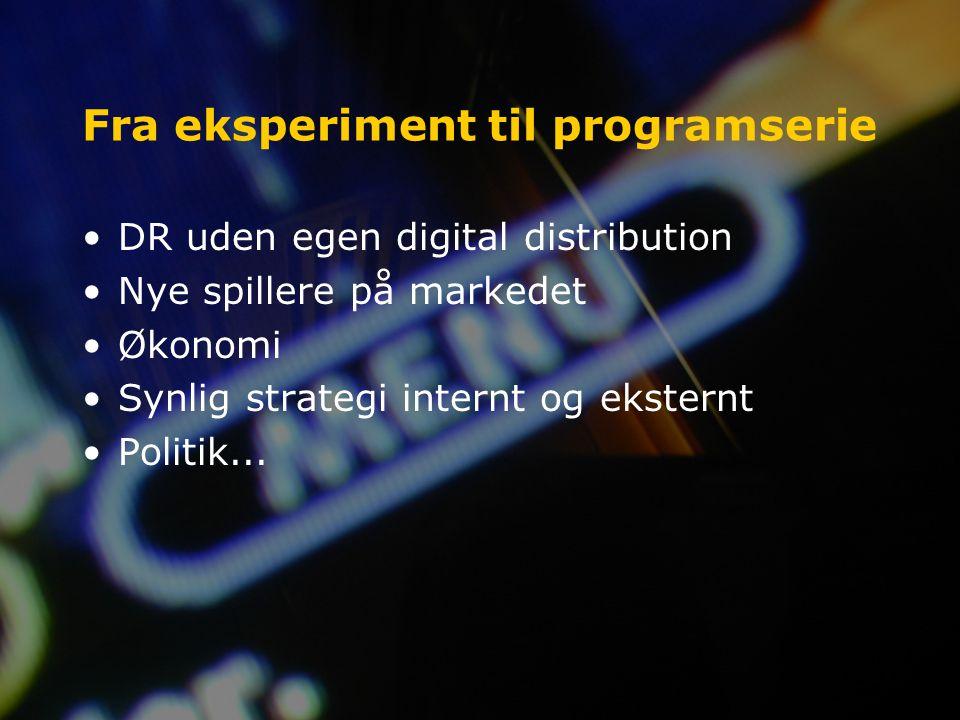 Fra eksperiment til programserie DR uden egen digital distribution Nye spillere på markedet Økonomi Synlig strategi internt og eksternt Politik...