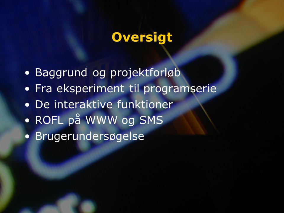 Oversigt Baggrund og projektforløb Fra eksperiment til programserie De interaktive funktioner ROFL på WWW og SMS Brugerundersøgelse