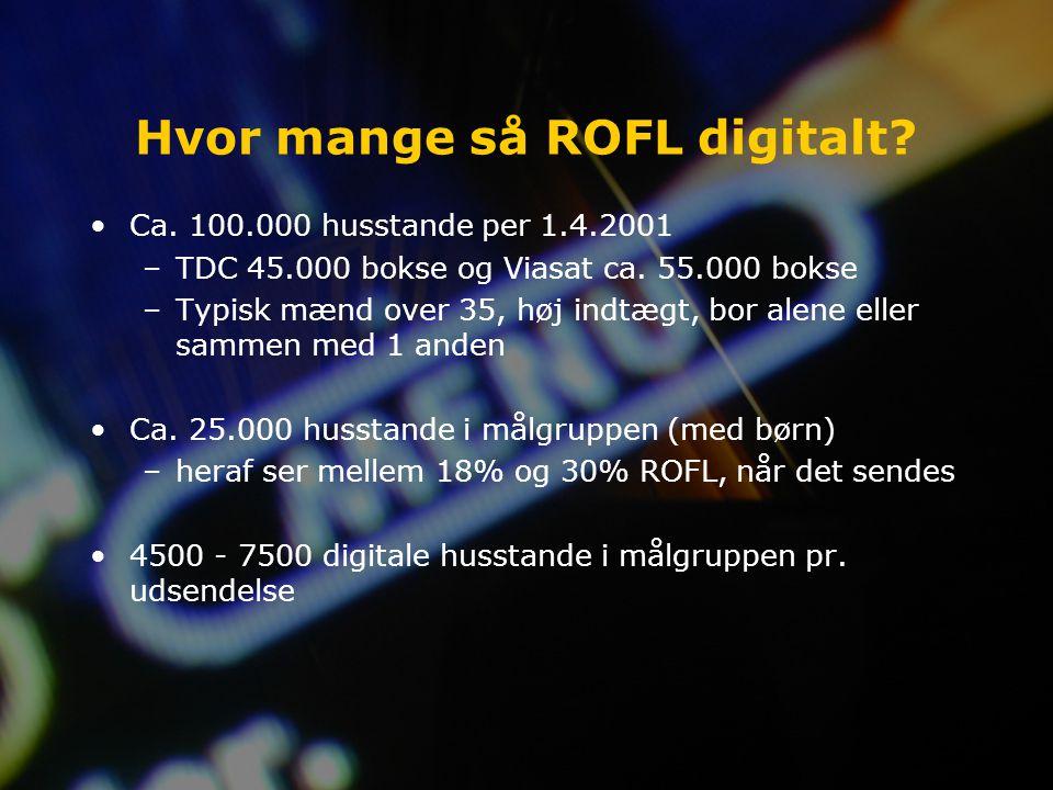 Hvor mange så ROFL digitalt. Ca. 100.000 husstande per 1.4.2001 –TDC 45.000 bokse og Viasat ca.