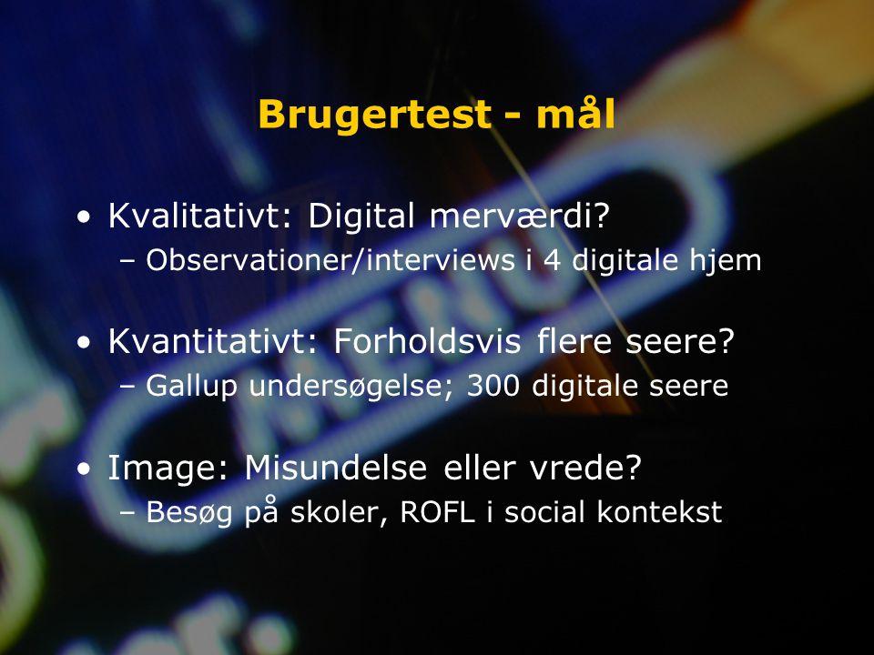 Brugertest - mål Kvalitativt: Digital merværdi.