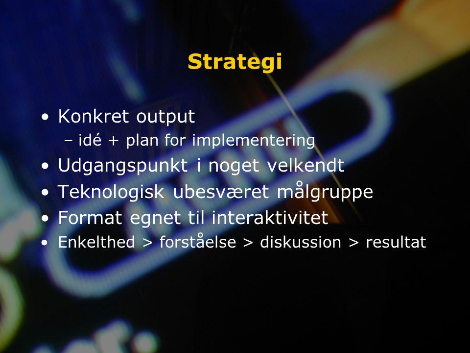 Strategi Konkret output –idé + plan for implementering Udgangspunkt i noget velkendt Teknologisk ubesværet målgruppe Format egnet til interaktivitet Enkelthed > forståelse > diskussion > resultat