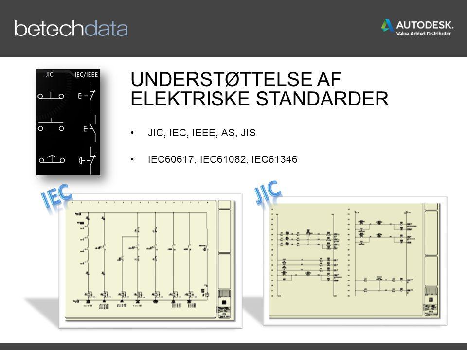 UNDERSTØTTELSE AF ELEKTRISKE STANDARDER JIC, IEC, IEEE, AS, JIS IEC60617, IEC61082, IEC61346