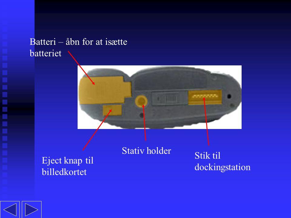 Batteri – åbn for at isætte batteriet Eject knap til billedkortet Stativ holder Stik til dockingstation