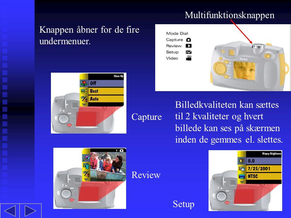 Multifunktionsknappen Knappen åbner for de fire undermenuer.
