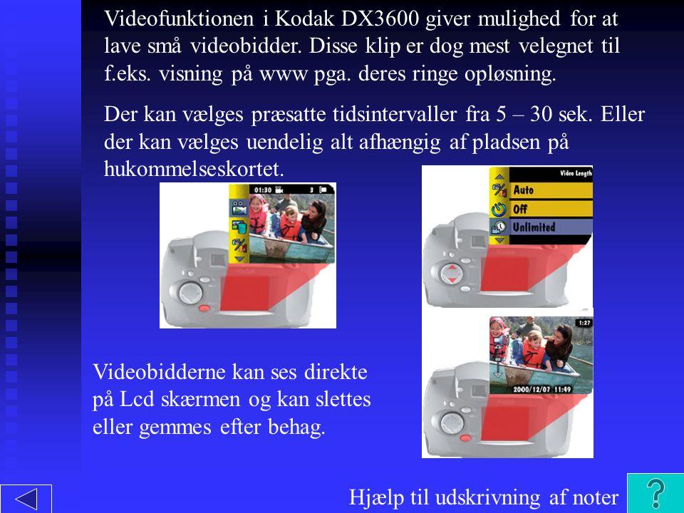 Videofunktionen i Kodak DX3600 giver mulighed for at lave små videobidder.