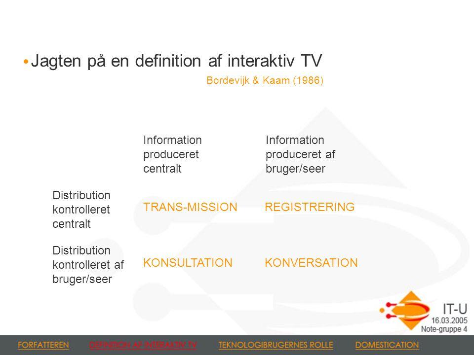 Jagten på en definition af interaktiv TV Bordevijk & Kaam (1986) Information produceret centralt Information produceret af bruger/seer Distribution kontrolleret centralt Distribution kontrolleret af bruger/seer TRANS-MISSION KONSULTATION REGISTRERING KONVERSATION