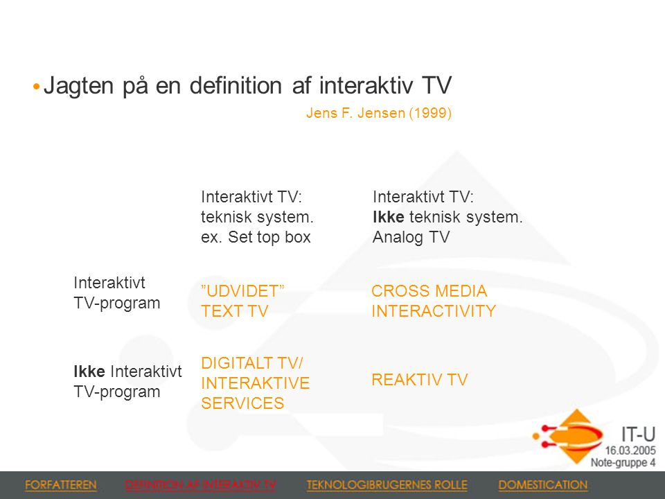 Jagten på en definition af interaktiv TV Jens F. Jensen (1999) Interaktivt TV: teknisk system.