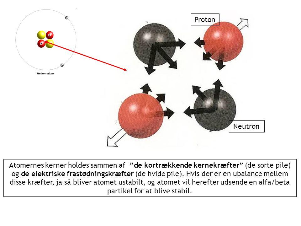 Atomernes kerner holdes sammen af de kortrækkende kernekræfter (de sorte pile) og de elektriske frastødningskræfter (de hvide pile).
