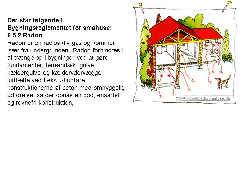 Der står følgende i Bygningsreglementet for småhuse: 6.5.2 Radon Radon er en radioaktiv gas og kommer især fra undergrunden.