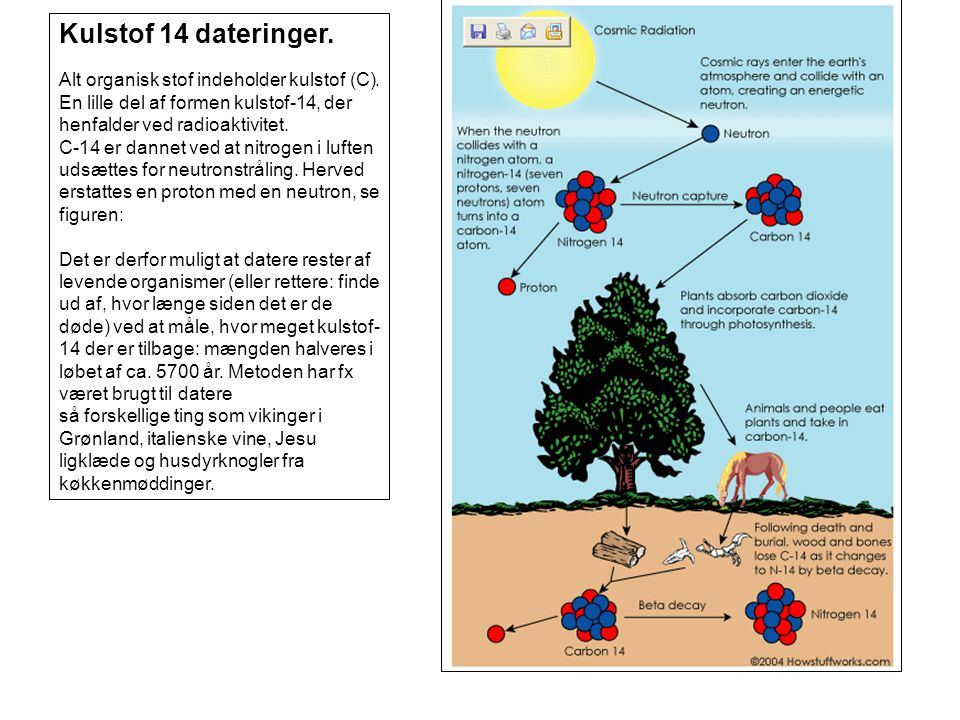 Kulstof 14 dateringer.Alt organisk stof indeholder kulstof (C).