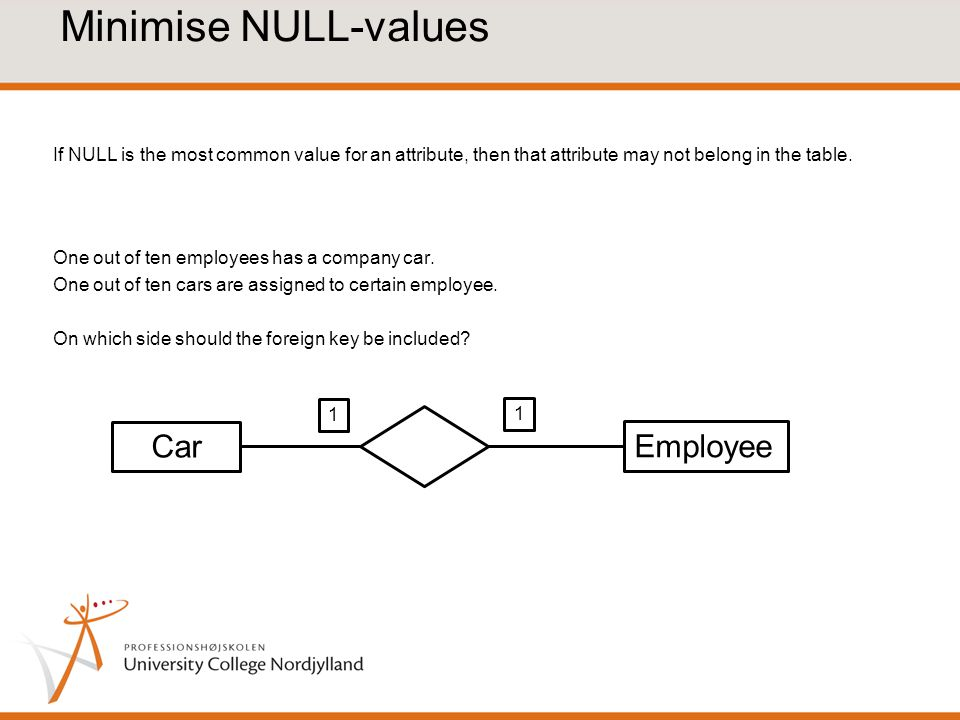 Minimise NULL-values If NULL is the most common value for an attribute, then that attribute may not belong in the table.