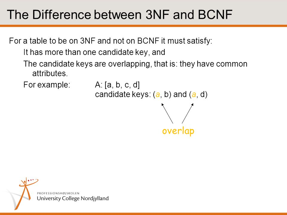 The Difference between 3NF and BCNF For a table to be on 3NF and not on BCNF it must satisfy: It has more than one candidate key, and The candidate keys are overlapping, that is: they have common attributes.