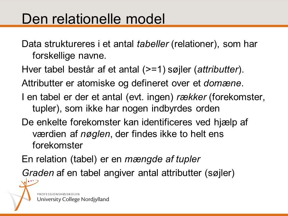 Den relationelle model Data struktureres i et antal tabeller (relationer), som har forskellige navne.