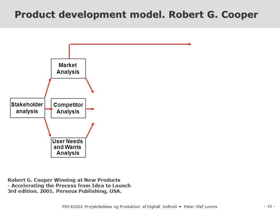 - 10 - PDI-E2003 Projektledelse og Produktion af Digitalt Indhold Peter Olaf Looms Product development model.