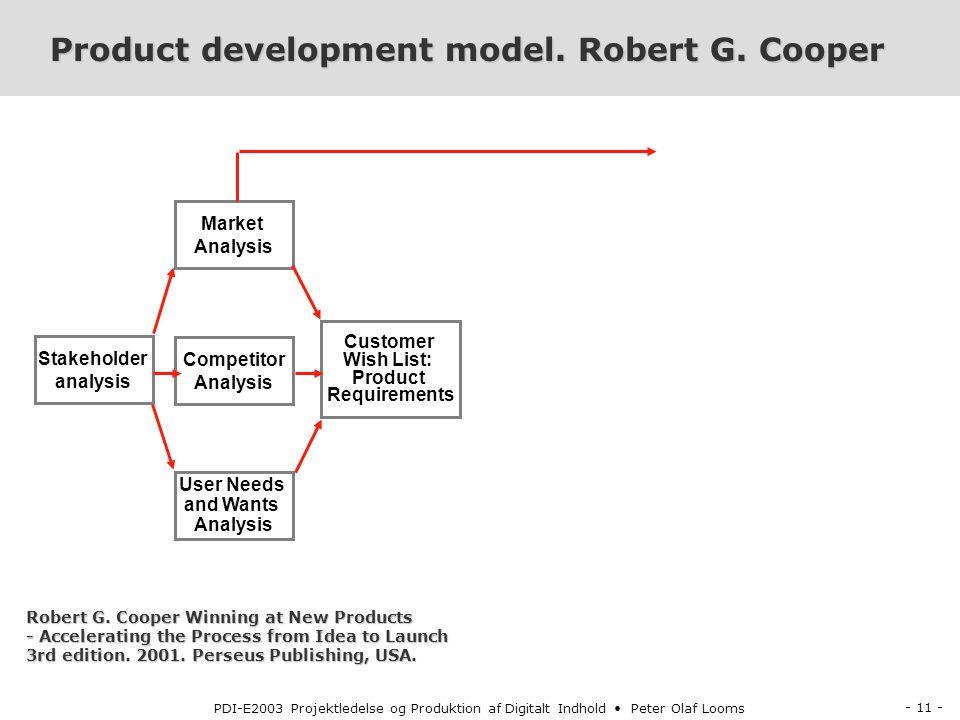 - 11 - PDI-E2003 Projektledelse og Produktion af Digitalt Indhold Peter Olaf Looms Product development model.