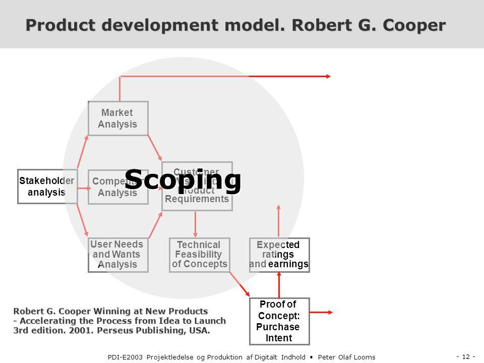 - 12 - PDI-E2003 Projektledelse og Produktion af Digitalt Indhold Peter Olaf Looms Product development model.