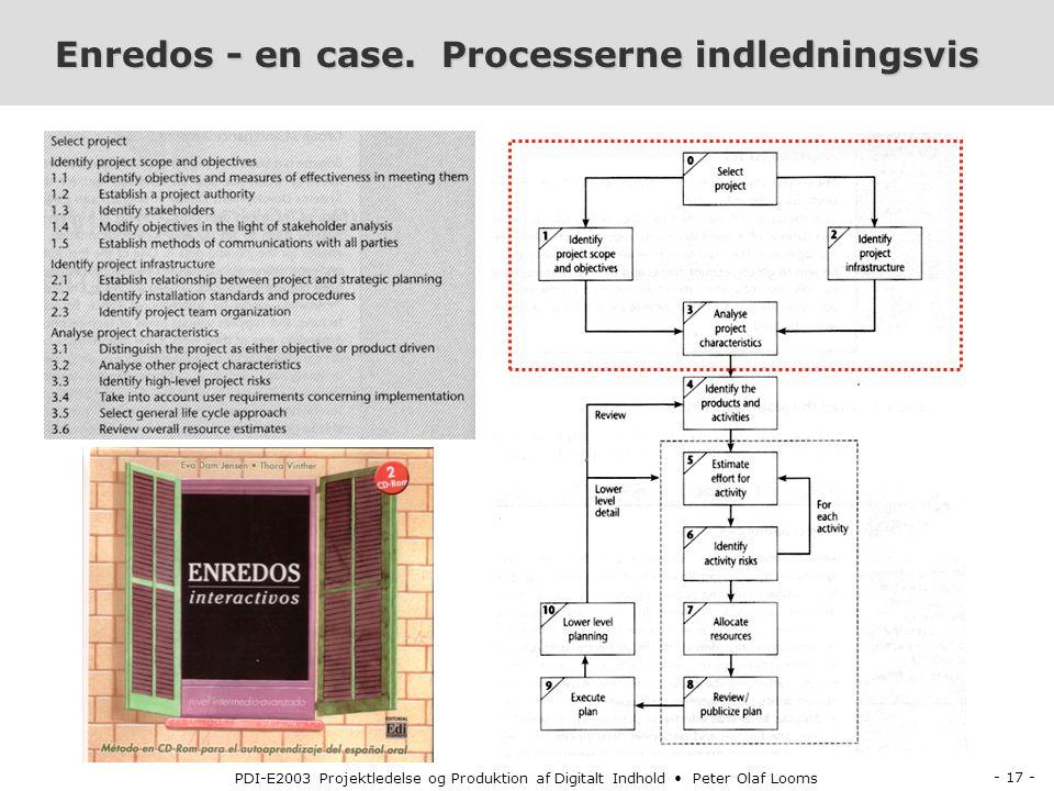 - 17 - PDI-E2003 Projektledelse og Produktion af Digitalt Indhold Peter Olaf Looms Enredos - en case.