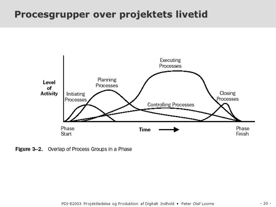 - 20 - PDI-E2003 Projektledelse og Produktion af Digitalt Indhold Peter Olaf Looms Procesgrupper over projektets livetid