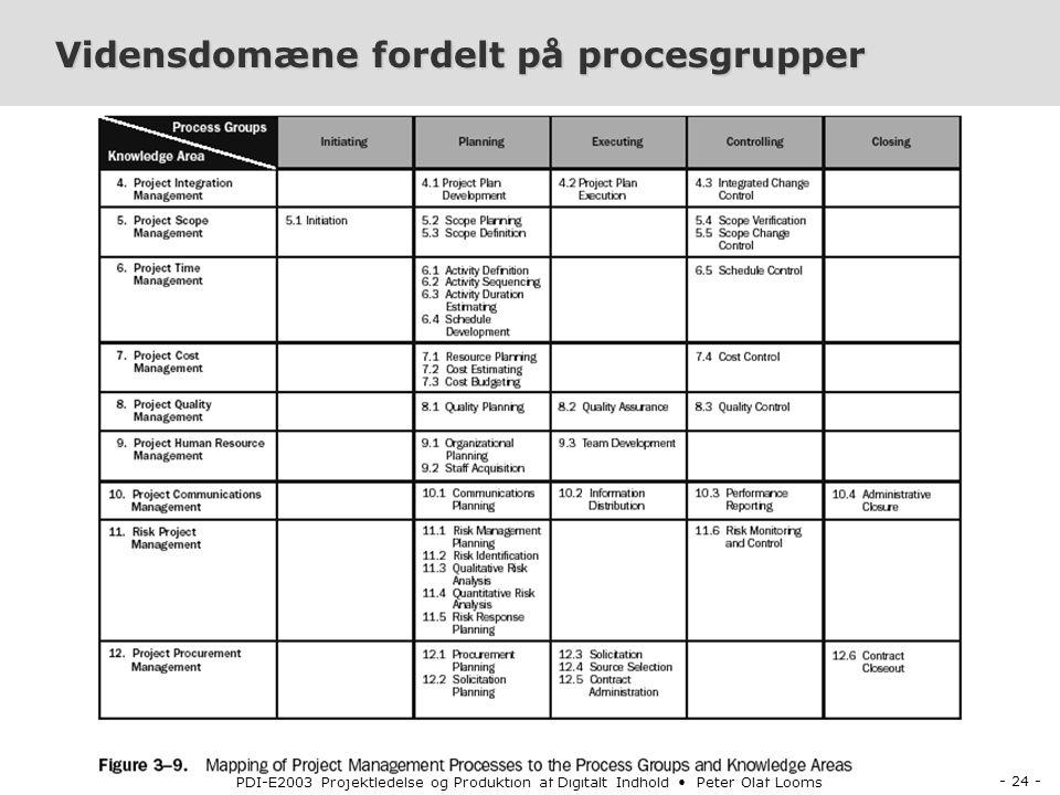 - 24 - PDI-E2003 Projektledelse og Produktion af Digitalt Indhold Peter Olaf Looms Vidensdomæne fordelt på procesgrupper