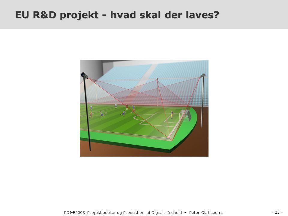 - 25 - PDI-E2003 Projektledelse og Produktion af Digitalt Indhold Peter Olaf Looms EU R&D projekt - hvad skal der laves
