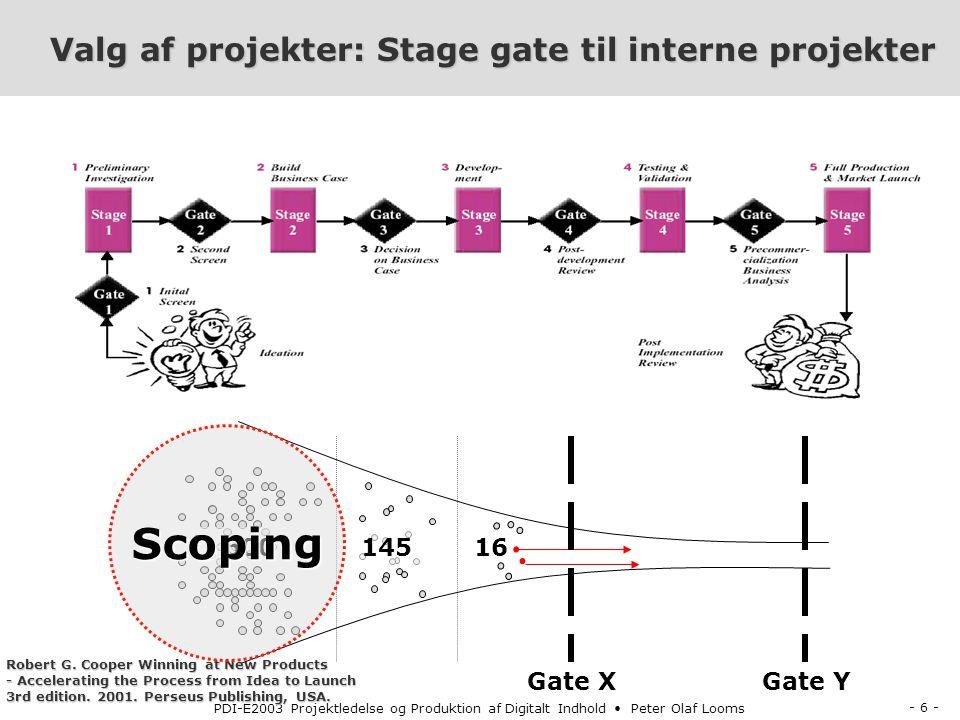 - 6 - PDI-E2003 Projektledelse og Produktion af Digitalt Indhold Peter Olaf Looms Valg af projekter: Stage gate til interne projekter 16 600 Gate X 145 Gate Y Robert G.