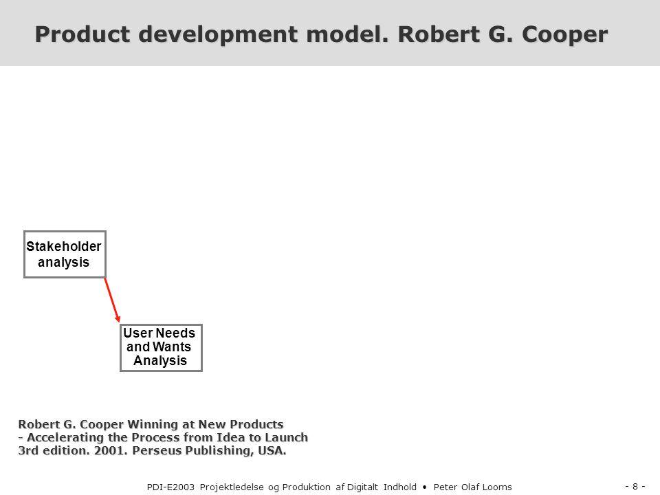 - 8 - PDI-E2003 Projektledelse og Produktion af Digitalt Indhold Peter Olaf Looms Product development model.