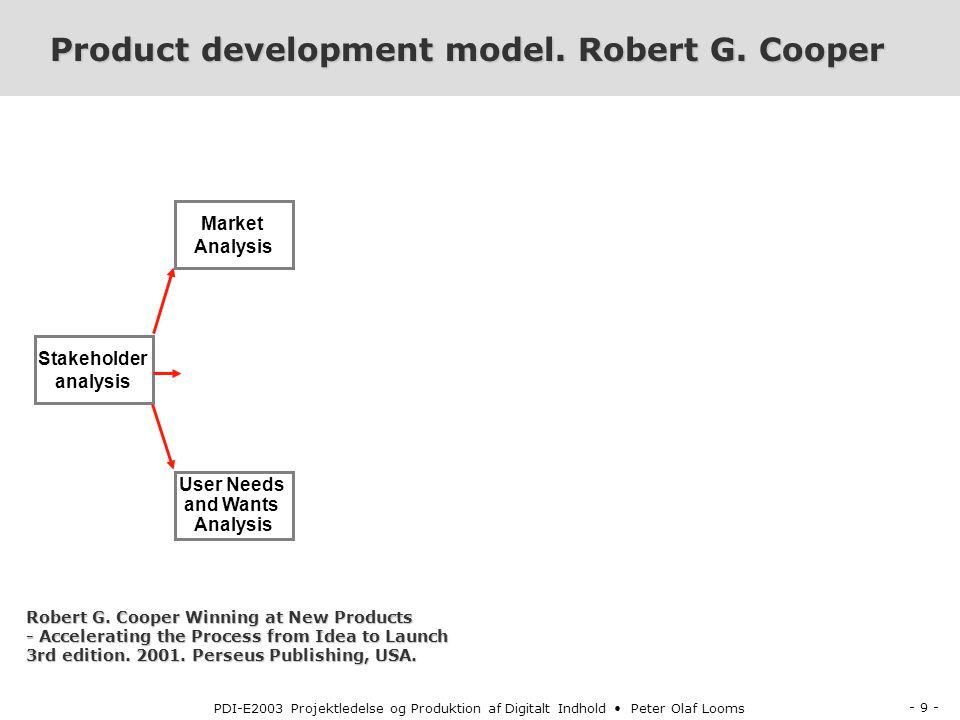 - 9 - PDI-E2003 Projektledelse og Produktion af Digitalt Indhold Peter Olaf Looms Product development model.