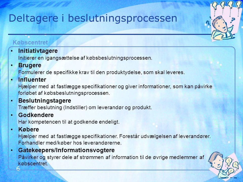 7 Købsbeslutningsprocessen Buygrid modellen giver et overblik over hvor man befinder sig i købsbeslutningsprocessen.