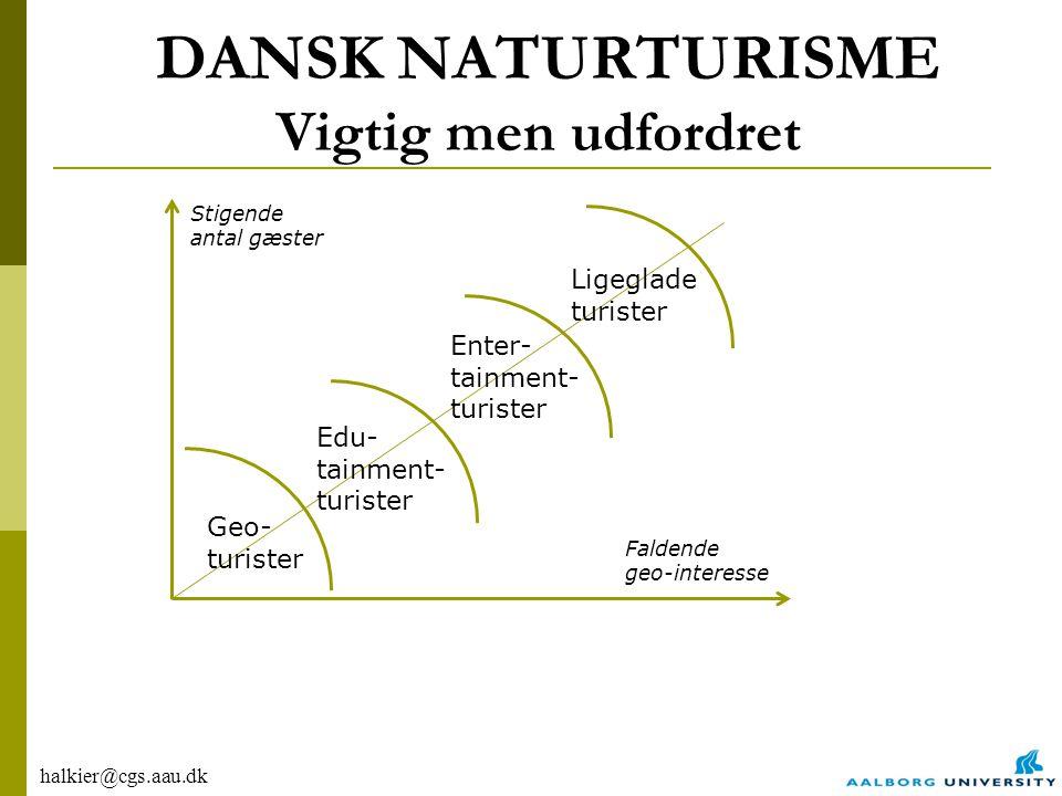 halkier@cgs.aau.dk DANSK NATURTURISME Vigtig men udfordret Geo- turister Edu- tainment- turister Enter- tainment- turister Ligeglade turister Faldende geo-interesse Stigende antal gæster