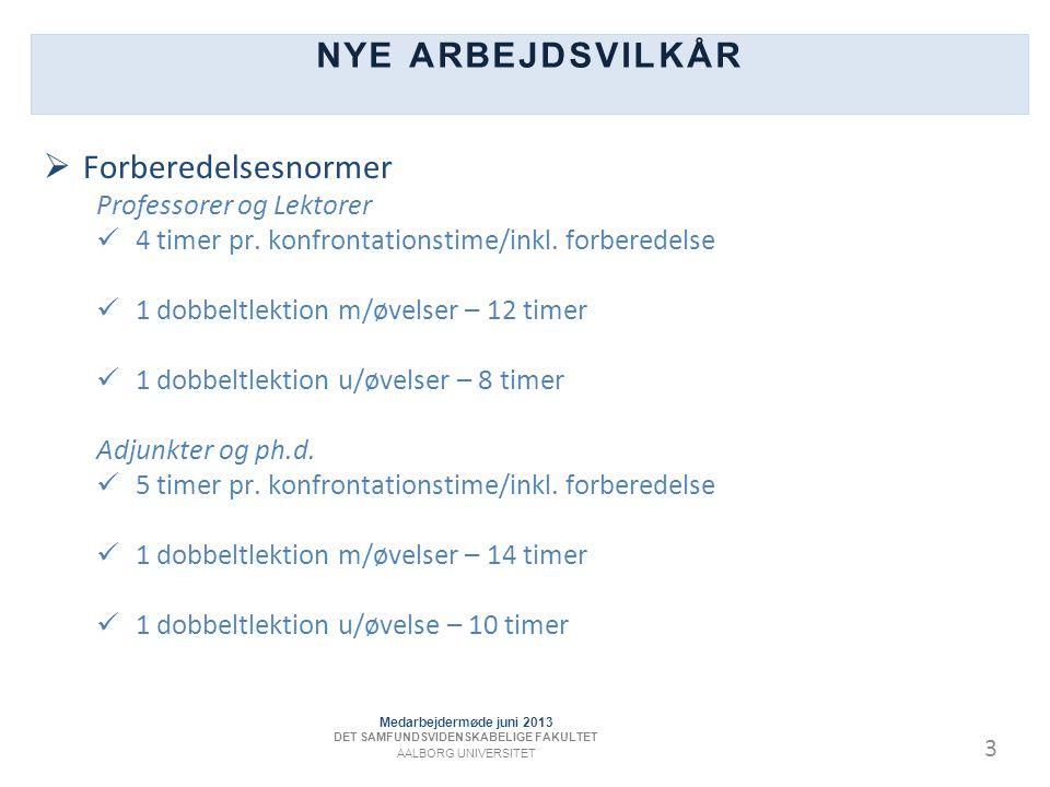 3 NYE ARBEJDSVILKÅR  Forberedelsesnormer Professorer og Lektorer 4 timer pr.