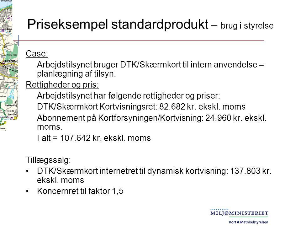 Priseksempel standardprodukt – brug i styrelse Case: Arbejdstilsynet bruger DTK/Skærmkort til intern anvendelse – planlægning af tilsyn.