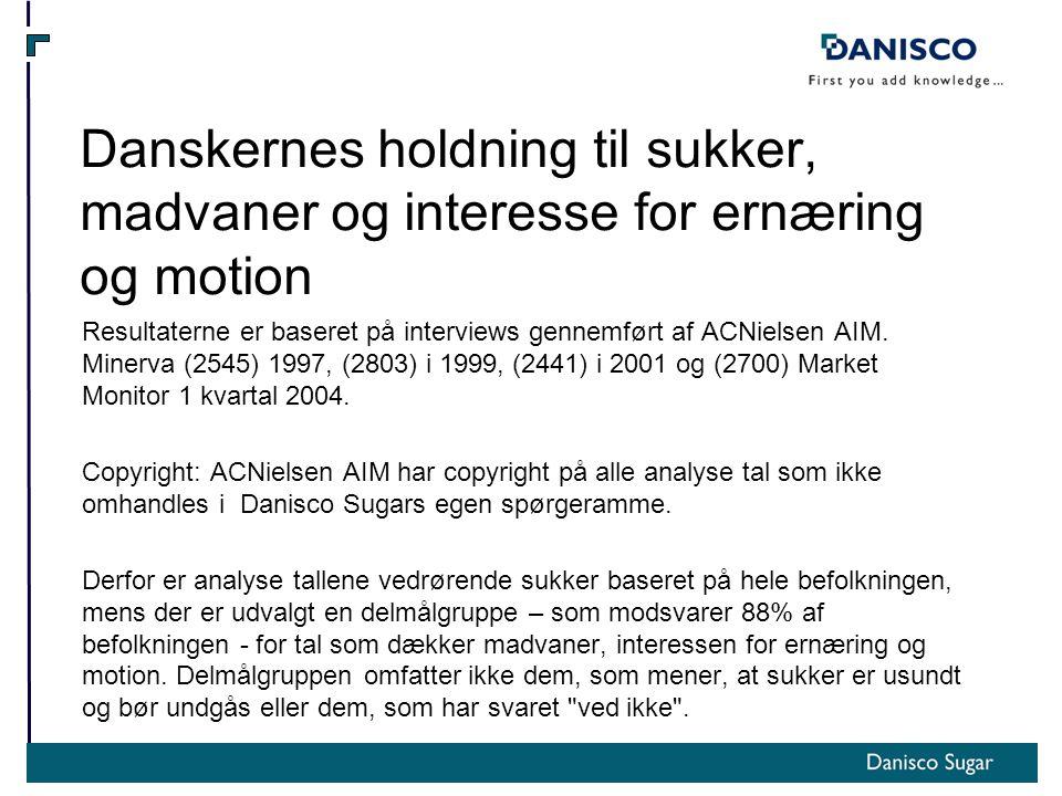 Danskernes holdning til sukker, madvaner og interesse for ernæring og motion Resultaterne er baseret på interviews gennemført af ACNielsen AIM.