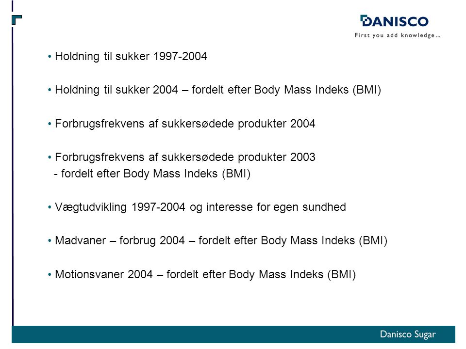 Holdning til sukker 1997-2004 Holdning til sukker 2004 – fordelt efter Body Mass Indeks (BMI) Forbrugsfrekvens af sukkersødede produkter 2004 Forbrugsfrekvens af sukkersødede produkter 2003 - fordelt efter Body Mass Indeks (BMI) Vægtudvikling 1997-2004 og interesse for egen sundhed Madvaner – forbrug 2004 – fordelt efter Body Mass Indeks (BMI) Motionsvaner 2004 – fordelt efter Body Mass Indeks (BMI)