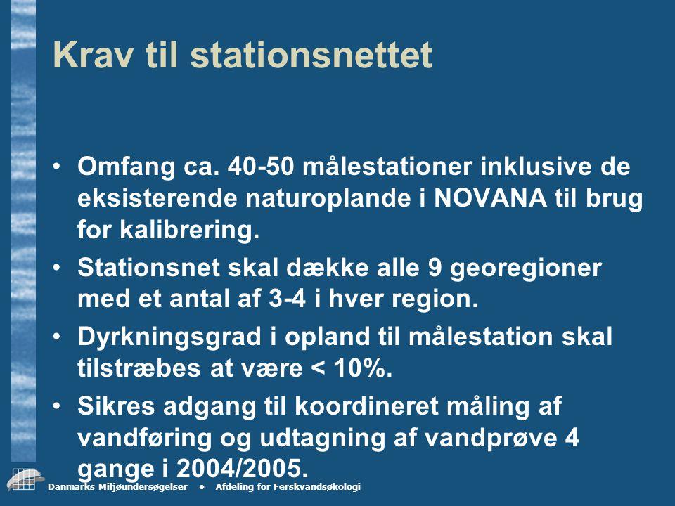 Danmarks Miljøundersøgelser Afdeling for Ferskvandsøkologi Fastlæggelse af stationsnet til måleprogrammet