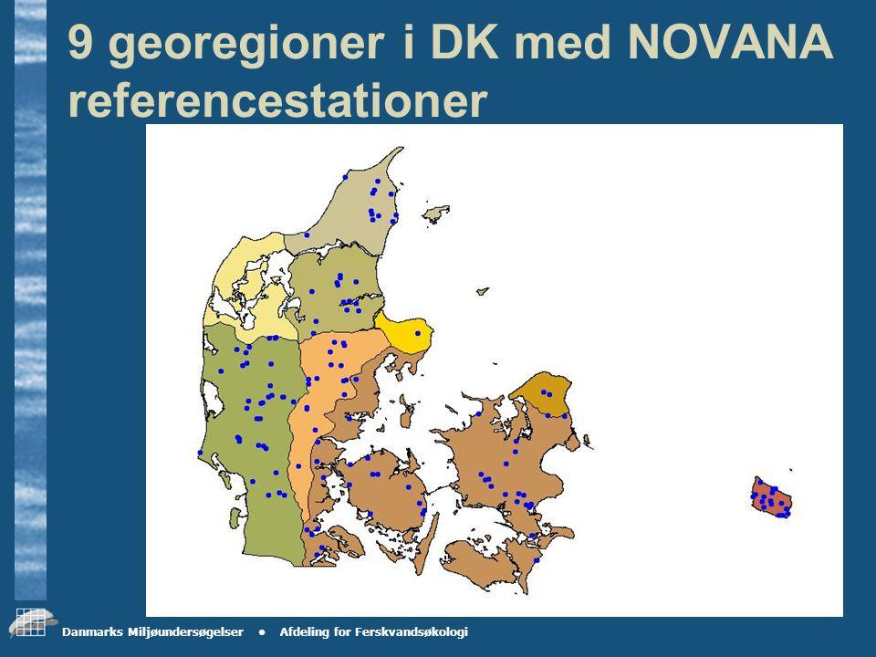 Danmarks Miljøundersøgelser Afdeling for Ferskvandsøkologi De 9 georegioner bygger på landskabstyperne i Danmark hvor yngre moræne er opdelt i en midt-, nordøstjysk og nordsjællandsk, samt en østdansk.