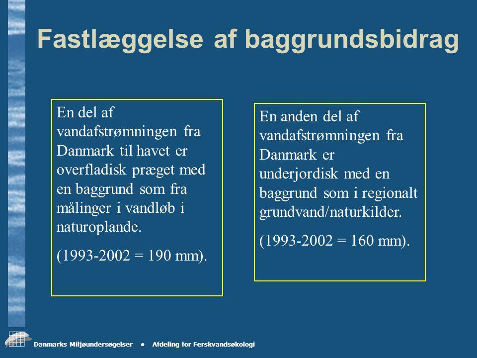 Danmarks Miljøundersøgelser Afdeling for Ferskvandsøkologi Betydning for fastlæggelse af baggrundsbidrag typeoplande og havbelastning.