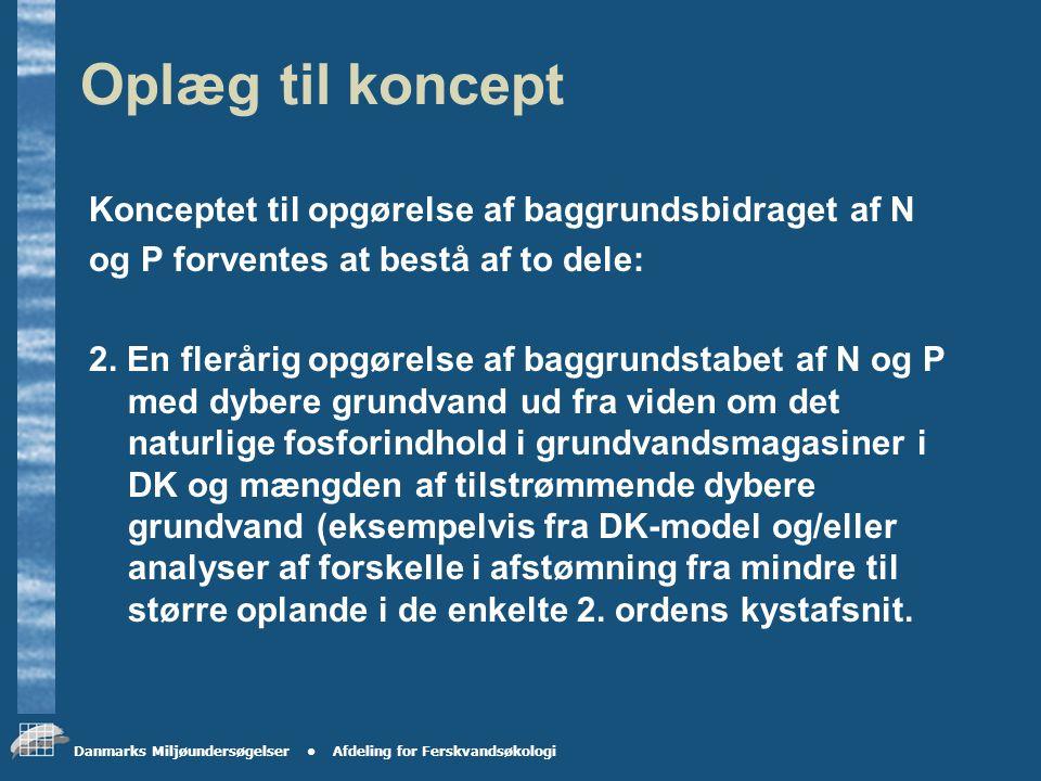Danmarks Miljøundersøgelser Afdeling for Ferskvandsøkologi Oplæg til koncept Konceptet til opgørelse af baggrundsbidraget af N og P forventes at bestå af to dele: 1.
