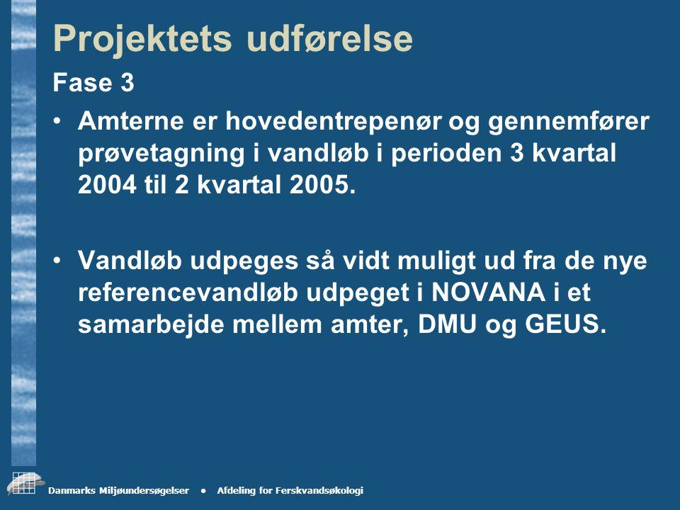 Danmarks Miljøundersøgelser Afdeling for Ferskvandsøkologi Projektets udførelse Fase 1 DMU er hovedentrepenør og gennemfører analysen i foråret 2004.