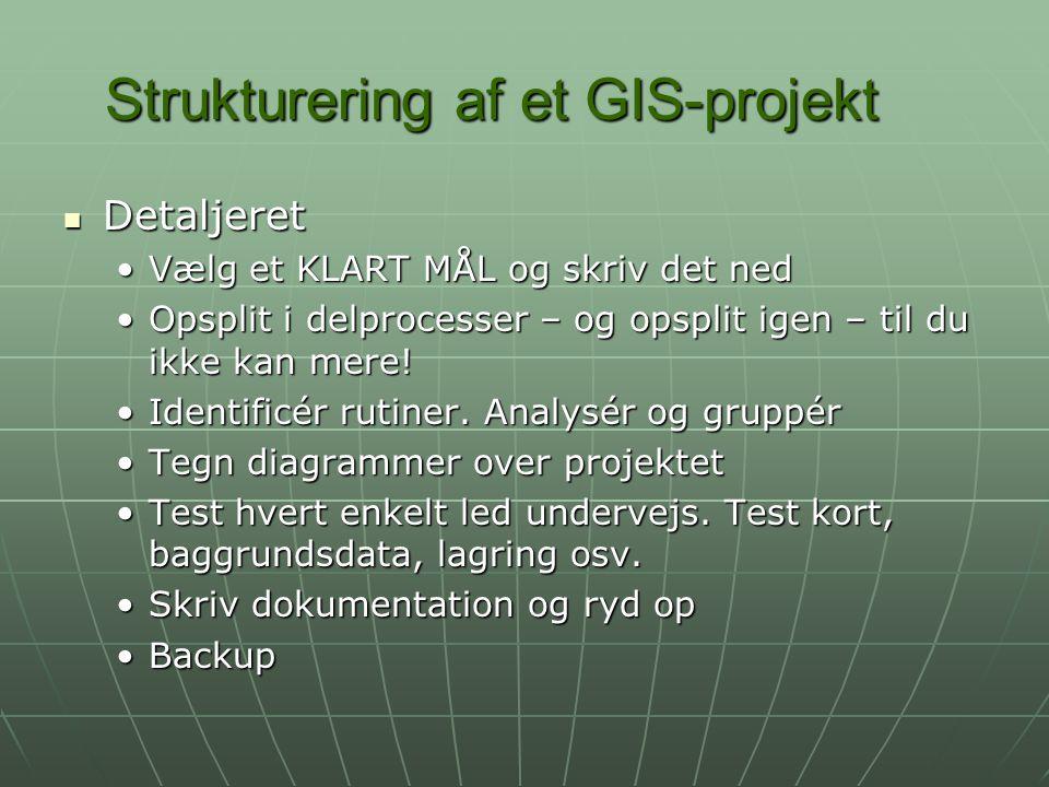 Strukturering af et GIS-projekt Detaljeret Detaljeret Vælg et KLART MÅL og skriv det nedVælg et KLART MÅL og skriv det ned Opsplit i delprocesser – og opsplit igen – til du ikke kan mere!Opsplit i delprocesser – og opsplit igen – til du ikke kan mere.