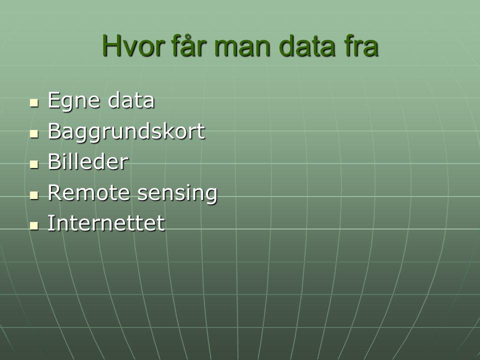Hvor får man data fra Egne data Egne data Baggrundskort Baggrundskort Billeder Billeder Remote sensing Remote sensing Internettet Internettet